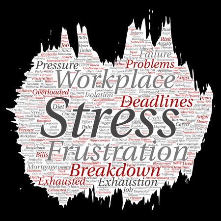 Vector conceptual mental stress at workplace or job pressure paint brush or paper word cloud isolated background. Collage of health, work, depression problem, exhaustion, breakdown, deadlines risk