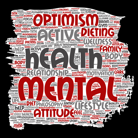 Vector conceptual mental health or positive thinking paint brush paper word cloud isolated background. Collage of optimism, psychology, mind healthcare, thinking, attitude balance or motivation text