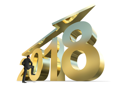Conceptual 2018 gold or golden year made of shiny yellow metal font isolated on white background. Abstract holiday 3D illustration businessman on arrow, metaphor to wealth, business growth prosperity