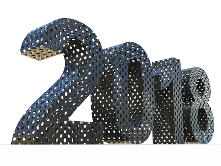 Conceptual 2018 year made of dark perforated metal sheet font isolated white background. Abstract creative technology, holiday 3D illustration, metaphor to industry, future or vision industrial design