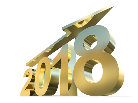 Conceptual 2018 gold or golden year made of shiny yellow metal font isolated on white background. An abstract rich  holiday 3D illustration arrow, metaphor to wealth, prosperity or business growth Stock Photo