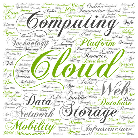 Concept conceptual web cloud computing technology abstract wordcloud isolated Stock Photo