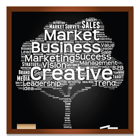 Vector concept or conceptual white tree word cloud or wordcloud on black blackboard background, metaphor to business, trend, media, focus, market, value, product, advertising, leadership or customer