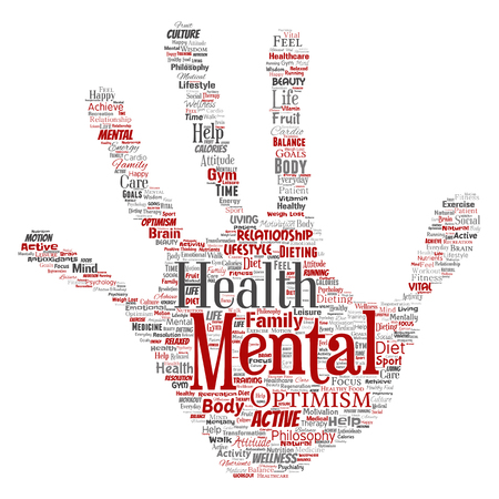 Mental health word cloud concept design.