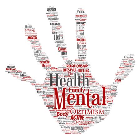 Mental health word cloud concept design.