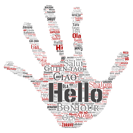 Vector concept or conceptual hand print stamp hello or greeting international tourism word cloud in different languages or multilingual.