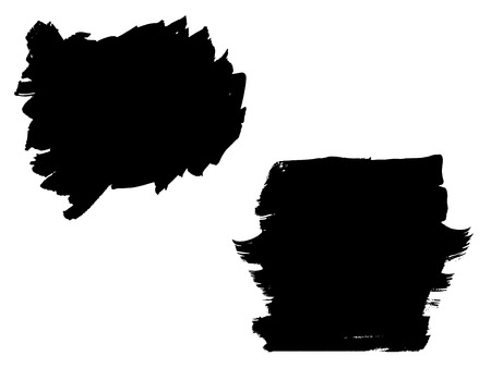 Vector collection or set of artistic black paint, ink or acrylic hand made creative brush stroke on white background.