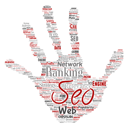 Vector conceptual search results engine optimization top rank seo hand print stamp online internet word cloud text isolated on background. Marketing strategy web page content relevance network concept