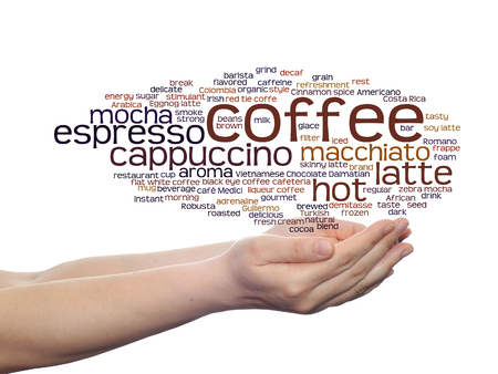 Concept conceptual creative hot coffee, cappuccino or espresso abstract word cloud in hand isolated