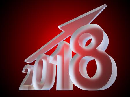 概念2018氷やガラスの年は、赤いグラデーションの背景に白い霜のフォントで作られています。抽象的な豊かな休日の3Dイラストの矢印、クリスマス
