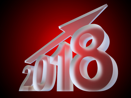 Conceptual 2018 ice or glass year made of white frost font on red gradient background. An abstract rich  holiday 3D illustration arrow, metaphor to Christmas wealth, prosperity or business growth