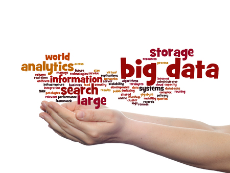 Concept or conceptual big data large size storage systems word cloud in hands isolated on background Banque d'images