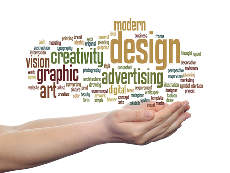 Concept conceptual creativity art graphic design visual word cloud in hand isolated Stock Photo