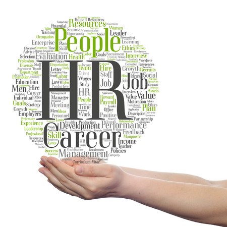 Concept conceptual hr or human resources management abstract word cloud in hand isolated 스톡 콘텐츠