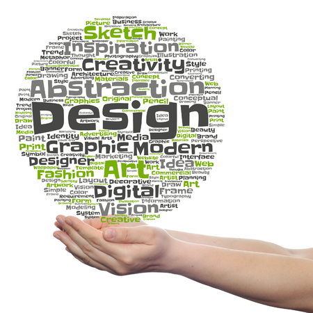 Concept conceptual creativity art graphic design visual word cloud in hand isolated Banque d'images