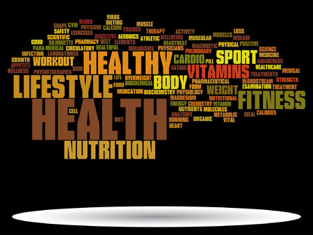 Vector conceptual health or diet word cloud concept isolated on background Иллюстрация