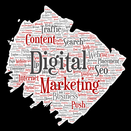 Concept or conceptual digital marketing seo traffic paint brush paper word cloud isolated background. Collage of business, market content, search, web push placement or communication technology