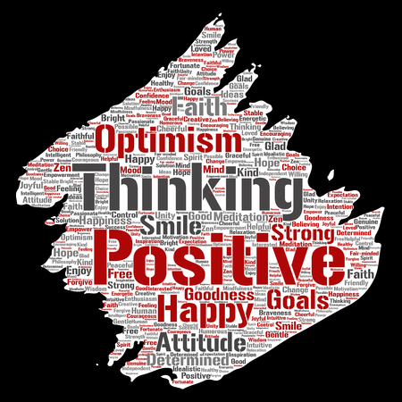 Vector conceptual positive thinking, happy strong attitude paint brush paper word cloud isolated on background. Collage of optimism smile, faith, courageous goals, goodness or happiness inspiration