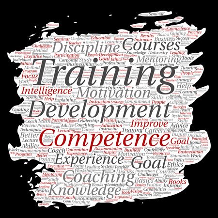 Vector conceptual training, coaching or learning. Study paint brush, paper word cloud on background. Collage of mentoring, development, motivation skills, career and more. Illustration
