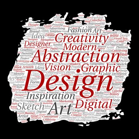 Diseño conceptual de la identidad gráfica del arte de la creatividad del vector. Cepillo de pintura, fondo de papel de la nube de la palabra. Collage de publicidad, decorativo, moda, inspiración, visión, modelado de perspectiva. Foto de archivo - 92362299