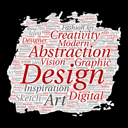 Vector conceptual creativity art graphic identity design. Paint brush, paper word cloud background. Collage of advertising, decorative, fashion, inspiration, vision, perspective modeling.