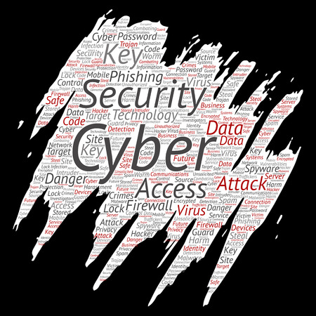 Vector conceptual cyber security online access technology paint brush paper word cloud isolated background. Collage of phishing, key virus, data attack, crime, firewall password, harm, spam protection Иллюстрация