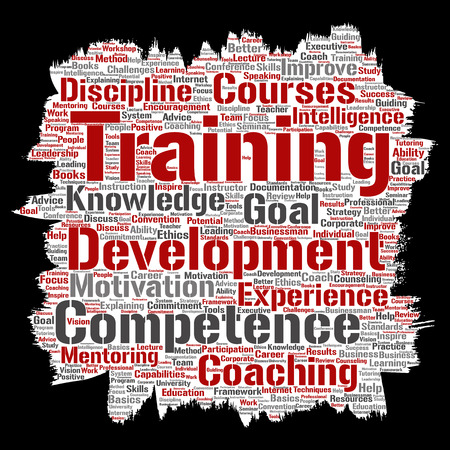 Vector conceptual training, coaching or learning, study paint brush paper word cloud isolated on background. Collage of mentoring, development, motivation skills, career, potential goals or competence
