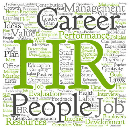 Concept conceptual hr or human resources word cloud isolated on background 스톡 콘텐츠