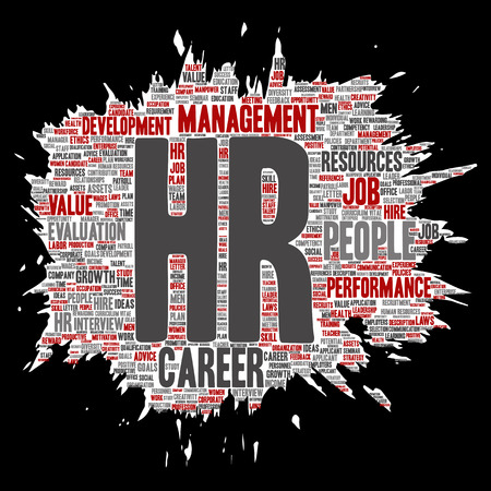 Vector concept conceptual hr or human resources career management brush or paper word cloud isolated background. Collage of workplace, development, hiring success, competence goal, corporate or job.