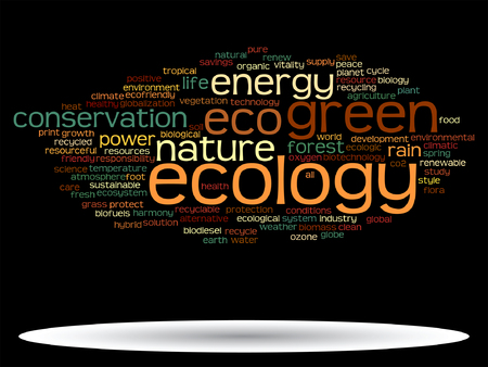 Vector concept or conceptual abstract green ecology or energy and conservation word cloud text isolated on black background