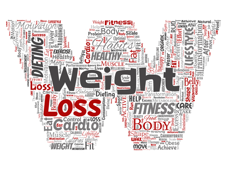 Vector conceptual weight loss healthy diet transformation letter font W word cloud isolated background. Collage of fitness motivation lifestyle, before and after workout slim body beauty concept.
