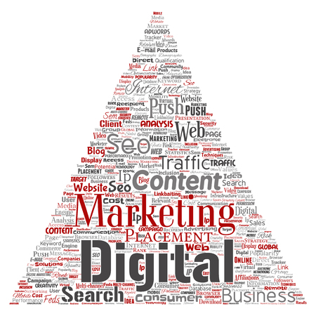 Vector concept or conceptual digital marketing seo traffic triangle arrow word cloud isolated background. Collage of business, market content, search, web push placement or communication technology. Illustration