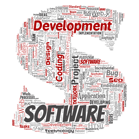 Conceptual software development project coding technology letter font S word cloud isolated background. Collage of application web design, seo ideas, implementation, testing upgrade concept.