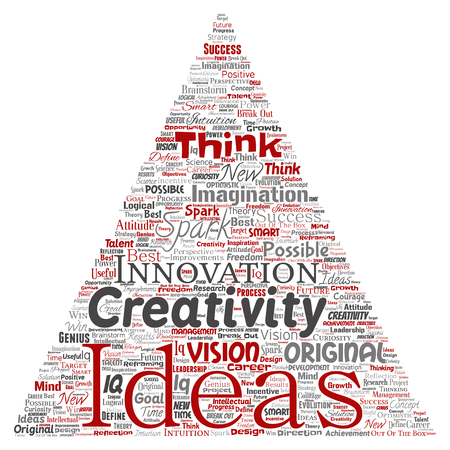 Vector conceptual creative idea brainstorming human triangle arrow word cloud isolated background. Collage of spark creativity original, innovation vision, think, achievement or smart genius concept.