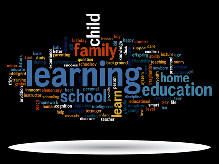 Vector conceptual education word cloud concept isolated on background. Çizim
