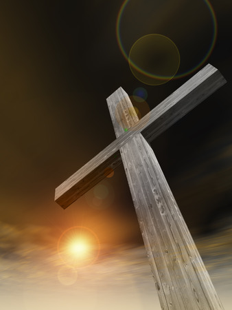 Concept or conceptual wood cross or religion symbol shape over a sunset sky with clouds background 版權商用圖片