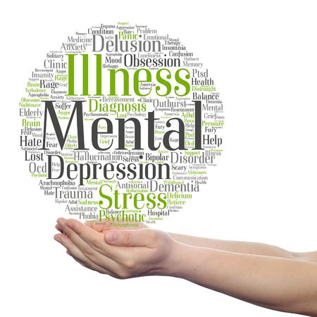 Konzept konzeptionelle Geisteskrankheit Störung Management oder Therapie Wort Wolke in Händen isoliert Standard-Bild - 92579254