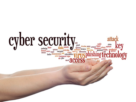 Concept or conceptual cyber security access technology word cloud in hand isolated on background Archivio Fotografico
