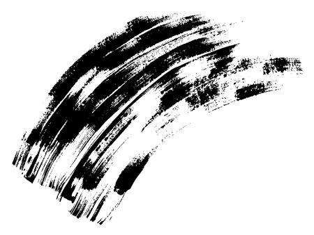 Vector artistic freehand black paint, ink or acrylic hand made creative brush stroke background isolated on white as grunge or grungy art spray effect, education abstract elements dark frame design Illustration