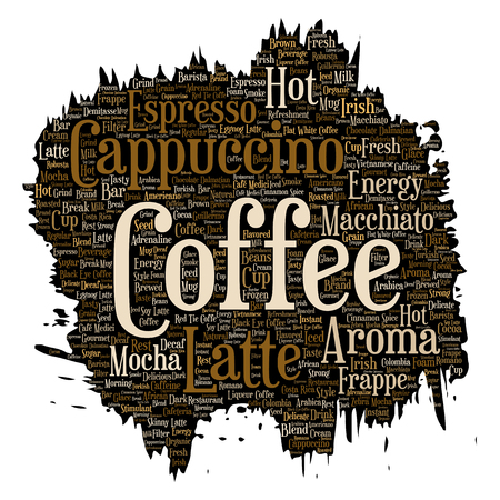 Vector conceptual creative hot morning italian coffee break, cappuccino or espresso restaurant or cafeteria brush or paper beverage word cloud isolated. A splash of energy or taste drink concept text