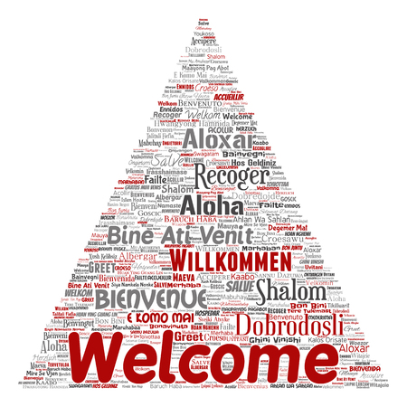Vector conceptual abstract welcome or greeting international triangle arrow word cloud in different languages or multilingual. Collage of world, foreign, worldwide travel translate, vacation tourism Çizim