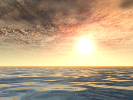 3D conceptual sunset or sunrise background with the sun close to horizon and sea or ocean Stock Photo - 93090236