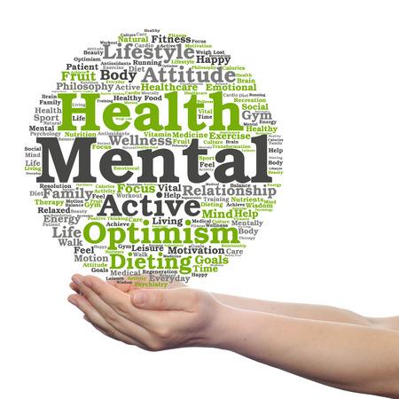 Concept of conceptuele geestelijke gezondheid of positief denken woord wolk gehouden in geïsoleerde handen