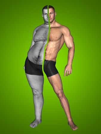 Human man fat and slim concept on green background