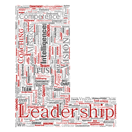 Vector conceptual business leadership strategy, management value letter font L word cloud isolated background. Collage of success, achievement, responsibility, intelligence authority or competence