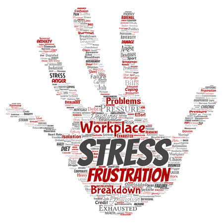 Vector conceptual mental stress at workplace or job pressure human hand print stamp word cloud isolated background. Collage of health, work, depression problem, exhaustion, breakdown, deadlines risk Vettoriali