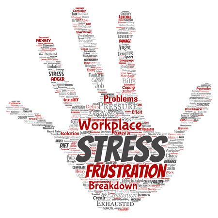 O esforço mental conceptual do vetor no local de trabalho ou a mão humana da pressão do trabalho imprimem o fundo isolado nuvem da palavra do selo. Colagem de saúde, trabalho, problema de depressão, esgotamento, colapso, risco de prazos