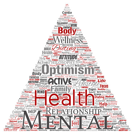Vector conceptual mental health or positive thinking triangle arrow word cloud isolated background. Collage of optimism, psychology, mind healthcare, thinking, attitude balance or motivation text Stockfoto - 93416028