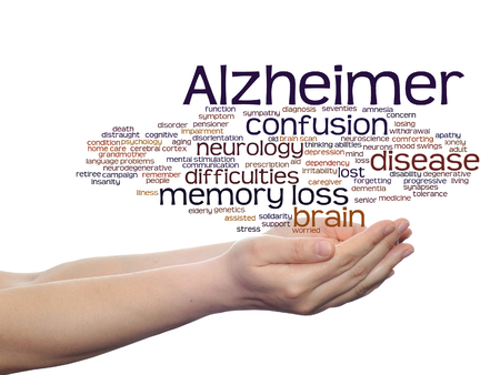Concept or conceptual Alzheimer`s disease symptom abstract word cloud held in hands Foto de archivo - 93431484
