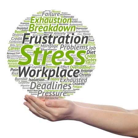 Concept conceptual mental stress at workplace or job word cloud in hand isolated